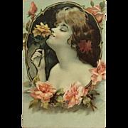Nouveau Lady With Flower