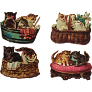 Victorian Scrap-Four Die Cut Kittens At Play