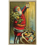 Santa With Lantern At The Door