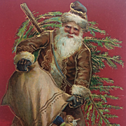 Father Christmas In Brown With Fir Tree
