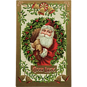 Santa In A Wreath Of Holly