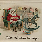 Santa In Glasses With Rocking Horse