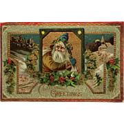 Old World Santa With Blue Cap And  Gold Trim