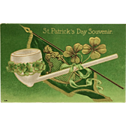 St. Patrick's Day Souvenir Postcard With White Clay Pipe