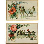 Trade Cards- Frolicking Frogs In Summer And Winter