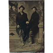 Tintype - Rough And Ready Working Dudes- Hands Clasped