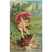 Valentine Cupid With Bucket Of Hearts