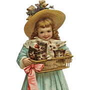 Easter Postcard- Girl In Easter Hat With Basket Of Kittens