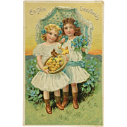 Tuck's Easter Postcard Girls With Parasol And Chicks