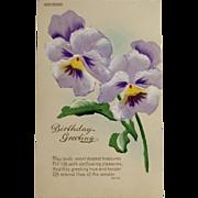 Hand Painted Postcard  Birthday Greeting- Lavender Pansies