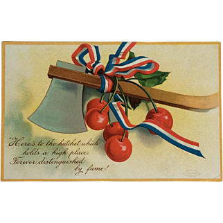 Washington's Birthday Postcard With Cherries