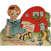 Vintage Mechanical Valentine With Big Eyed Girl