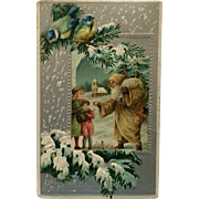 Old World Santa In Tan With Children And Birds