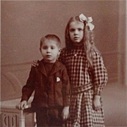 CDV- Little Girl In Checkered Dress and Locket With Younger Brother