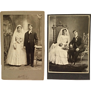 2 Cabinet Cards- Romance, Blooms And Beautiful Brides