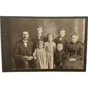 Cabinet Card- Mr. and Mrs. Crowe With Five Named Children