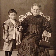 Cabinet Card- Cutest Happy Grandma With Grandson In Sailor Suit