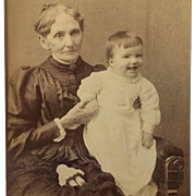 Cabinet Card- Grandma Holds Happy Baby- And A LIttle Doll