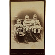 Cabinet Card-Three Little Children In Button Shoes Ready For Their Close Up