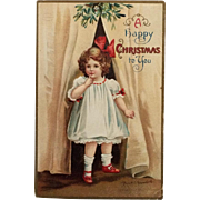 Clapsaddle- Shy Girl With Red Christmas Bow