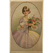 Corbella Postcard- Lady In Lavender With Bouquet - Red Tag Sale Item