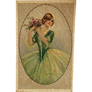 Corbella Postcard- Lady In Green With Bouquet