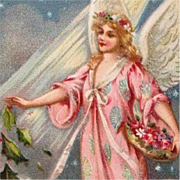 Tuck's Beautiful Flower Bedecked Angel In Pink