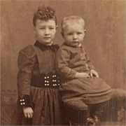 Cabinet Card- Curly Haired Big Sister With Little Brother
