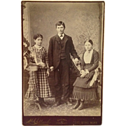 Cabinet Card- Beautiful Girls In 1880's Dresses With Handsome Big Brother