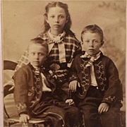 CDV- Little Boys In Fancy Suits With Big Sister In Plaid Dress