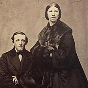 CDV- Civil War Era Couple In Traveling Clothes