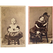2 CDVs- Pair Of Civil War Era Darling Little Girls In Chairs