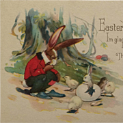 Dressed Easter Rabbit With Little White Bunny And Chicks