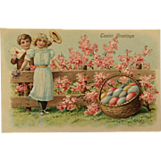 Easter Postcard-A Very Big Basket Of Easter Eggs