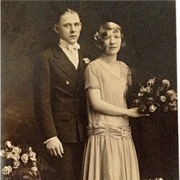 Studio Cabinet Card -Short Hair, Short Skirt , Pretty  Flapper Bride And Slick Groom