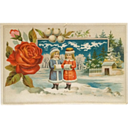 French Trade Card- Winter's Day For Two Little Girls In Coats With Muffs