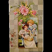 Postcard Greeting- Two Young Girls Feeding Bird