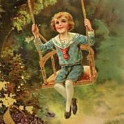 Happy Boy On Gilded Swing