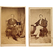 2 Carte De Visite  Suave Gents From CWA Era In Frock Coats-One With Top Hat  One With Internal Revenue Stamp