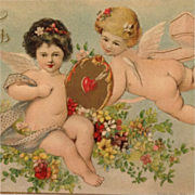 Love's Greeting From Little Girl Cherubs Valentine Postcard