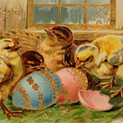 Tuck's-Easter Chicks With Fancy Gold Highlighted Basket And Eggs