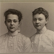 Matted Photograph-Sweet Anna And Alice In Glasses
