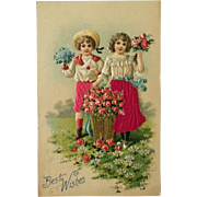 Best Wishes From Children In Silk With Flowers
