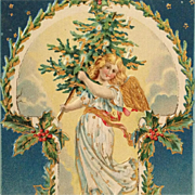 Embossed Angel With Golden Wings And Christmas Tree