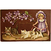 Three Playful Kitties, A Pretty Little Girl And A Pink Ribbon