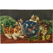 Curious Kitty Trio And Goldfish- D. Merlin