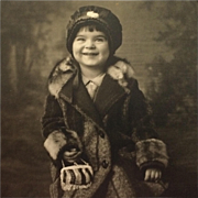 Matted Photo-Happy Toddler In Big Warm Coat With Purse