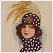 Nanni- Art Deco Beauty In Navy Blue Hat And Scarf With Stars