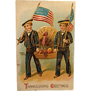 Thanksgiving -Patriotic Sailors, Flags And Tom Turkey
