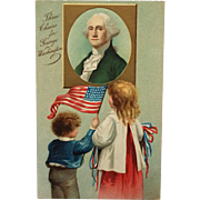 Patriotic Children Learn About George Washington-Clapsaddle